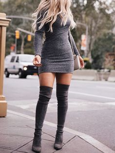 Gray sweater dress + the knee high heels boots. Edgy inspiration for work moms. outfit Over The Knee Thigh High Boots Faux Suede Leather High Heels Shoes Dress Outfits, Sweater Dress Outfit, Casual Outfits, Fashion Outfits, Womens Fashion, Maxi Dresses, Fashion Ideas, Dress Boots, Sweater Dresses