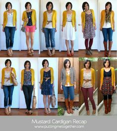 Cardigan outfits (not mustard, of course)
