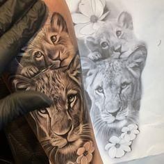 Lioness And Cub Tattoo, Lion Cub Tattoo, Female Lion Tattoo, Lioness And Cubs, Cubs Tattoo, Dope Tattoos, Baby Tattoos, Body Art Tattoos, Girl Tattoos