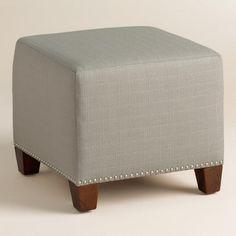 Textured Woven McKenzie Upholstered Ottoman - v1