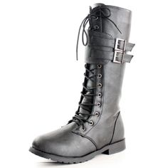 West Blvd Womens MANILA COMBAT Boots Lace Up Military Army Motorcycle Biker Flat Mid Calf Footwear
