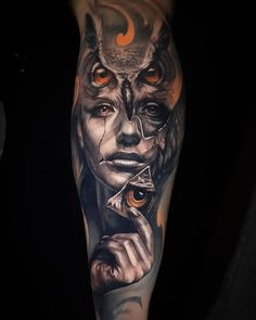 owl tattoo inside girl