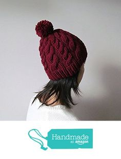 Hand Knitted Cable Chunky Beanie in Burgundy, Womens Pom Pom Hat, Marsala Hat with Pom Pom, Wool Blend, Winter Fall Accesories from NaryaBoutique https://www.amazon.com/dp/B01LG1ACZE/ref=hnd_sw_r_pi_dp_quzYzb5FA5S8Y #handmadeatamazon
