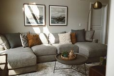 living room update with raymour & Flanigan Living Room Update, Cozy Living Rooms, Living Room Grey, Living Room Sofa, Home Living Room, Living Room Designs, Living Room Ideas With Grey Couch, Grey Living Room Furniture, Grey Couch Decor