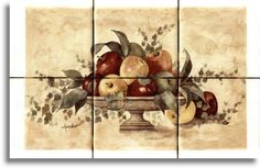 Apples Galore ~ Ceramic Tile ~ Range Stove Back-splash ~ Kitchen Tile Art ~ Custom Tile Mural ~ Decorative Tiles 81