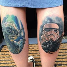 Yoda & Storm Trooper Tattoo by at Shrewsbury, England joekworrall… by tattoosnob - instaview. War Tattoo, Text Tattoo, Star Wars Tattoo, Stormtrooper Tattoo, Darth Vader Tattoo, Star Wars Film, Star Wars Characters, All Tattoos, Beautiful Tattoos