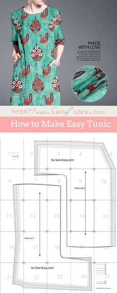 How to Make Easy Tunic Sewing Patterns Free, Free Sewing, Short Sleeve Dresses, Dresses With Sleeves, Silk Fabric, Make It Simple, Tunic, Easy, How To Make