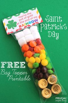 FREE Bag Topper - Great for a Rainbow Party or St Patricks Day Party - You're the pot of gold at the end of my Rainbow. St Patricks Day Craft, St Pattys Day Idea on Frugal Coupon Living.