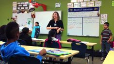 """Martina Bex demonstrating TPRS in her classroom.  I especially like her hand signals for """"Se llama"""", indicating a name tag; her use of simple props to create atmosphere; and her beautiful rapport with her students.  It's also a good example of what a CI classroom sounds like!... far from silent."""