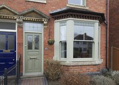 Case study Worcestershire for Sash Windows, Flush Casement and Front Door from Timber Windows, high quality, engineered timber doors and windows. Upvc Sash Windows, Timber Windows, Timber Door, Front Windows, Casement Windows, House Windows, Grey Windows, Front Doors, Bay Window Exterior