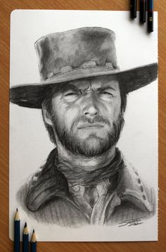 Clint Eastwood by AtomiccircuS | First pinned to Celebrity Art board here... http://www.pinterest.com/fairbanksgrafix/celebrity-art/ #Drawing #Art #CelebrityArt