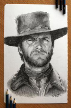 Clint Eastwood by AtomiccircuS  | First pinned to Celebrity Art board here... http://www.pinterest.com/fairbanksgrafix/celebrity-art/ #Drawing #Art #CelebrityArt