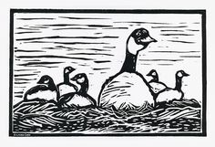 """Six Geese A-Laying"" - linocut print - Linda Cote, Canada"