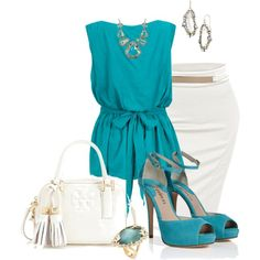 """""""Turquoise & White"""" by marisol-menahem on Polyvore"""