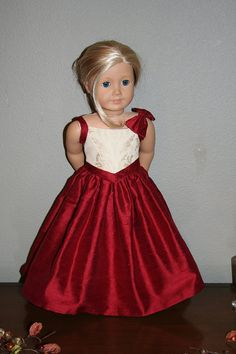 The Juliette Gown for Eighteen Inch American Girl Dolls. Part of the Fall Collection by The Dressmaker Doll Fashions