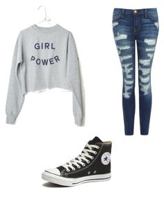 """""""girl power"""" by ellacamdenashlynnariana on Polyvore featuring Current/Elliott, Converse, women's clothing, women, female, woman, misses and juniors"""