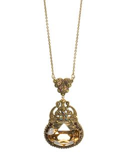 """Art Deco Oval Stone Pendant Necklace in Tapestry colorway (other pin is """"Water Lily)"""