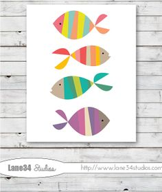 3DAY SALE Modern Swimming Fish  - Art Print for home decor, nursery, teenager, birthday, anniversary, and wedding gifts