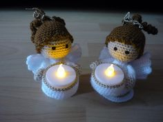 Magical Christmas, Christmas Nativity, Christmas Ornaments, Rag Doll Tutorial, Crochet Angels, Christmas Crochet Patterns, Led Licht, Learn To Crochet, Tea Light Holder