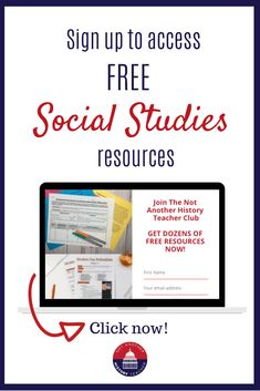 Join the Not Another History Teacher Club today! Get exclusive offers, teaching support, free trainings, instantly dozens of free lessons, tips and tricks for teaching social studies 7-12th grade! #sschat #sstlap #hsgovchat #socialstudies
