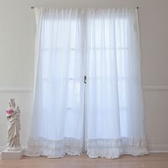 Petticoat White Curtain White Linen Drape with tiers of ruffles  100% linen with cotton lace trim, Rachel Ashwell