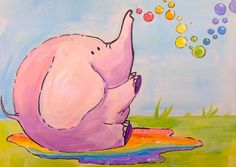 Beginner painting lesson  | Kawaii Elephant with Rainbow Bubbles | Art Sherpa For Kids - YouTube