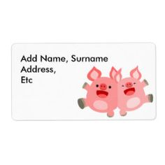 YEAH!! Cute Cartoon Pigs Shipping Label by Cheerful Madness!!  #cheerfulmadness #pig #pigs #friends #yeah #oink #tshirts #accessories #kawaii #cartoon #cute #zazzle #shippinglabels #labels #shipping