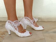 White Embroidered Lace Bridal Shoes with by KUKLAfashiondesign
