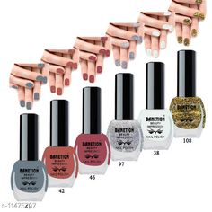 Nails Banetion Exclusive Long Lasting Nail Paint Combo Brand Name: Benetion Color: Multicolor Type: Matte Multipack: Combo Pack of 6 Capacity: 6 ml Each Country of Origin: India Sizes Available: Free Size *Proof of Safe Delivery! Click to know on Safety Standards of Delivery Partners- https://ltl.sh/y_nZrAV3  Catalog Rating: ★4.1 (1819)  Catalog Name: Free Gift Exclusive Bright Nail Polish CatalogID_2156589 C51-SC1244 Code: 551-11475797-