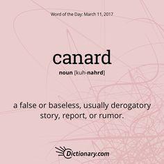 "canard. #wordoftheday #vocabulary #language"""