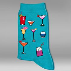 Tropical Drinks Socks Turquoise now featured on Fab.