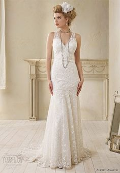alfred angelo modern vintage bridal sleeveless wedding dress lace charmeuse straps 8507