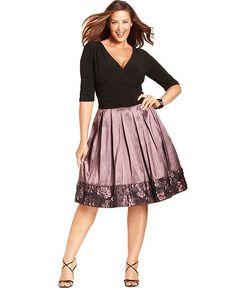 SL Fashions Plus Size Dress, Three-Quarter-Sleeve Ruched Pleated - Plus Size Dresses - Plus Sizes - Macy's