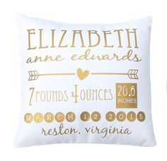 Birth Announcement Pillow, New Baby, Nursery Decor, New Baby Gift, Throw Pillow Cover, Gold Pillow Personalized Baby Gift, Metallic Pillow by FestiveHomeDecor on Etsy https://www.etsy.com/listing/231481996/birth-announcement-pillow-new-baby