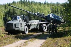 "Capable of deploying and packing up in less then 30 seconds. 9 155mm excalibur and bonus rounds per minute. Pin point accuracy. Operable by one man. The Swedish artillery system 08. The ""Archer"". [960x639]"