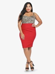 With figure-skimming shape, this fitted sweetheart dress is a knockout combo of sexy and classic. The leopard-spotted bodice meets a red hot bodycon skirt with pintuck detailing making for a real head-turner. Smocked back.