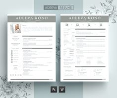 Professional Resume Template Kono by AdeevaResume on @creativemarket