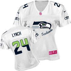 Nike Seahawks  24 Marshawn Lynch White Women s Fem Fan NFL Game Jersey.  Trendy Fashion World e82a8e6ad