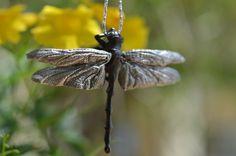 Sterling Silver and Bronze Dragonfly Necklace / Robert Burkett Design / Animal Pendant / Spirit Animal Necklace / Animal Totem / Dragonfly by TigerTigerTreasures on Etsy