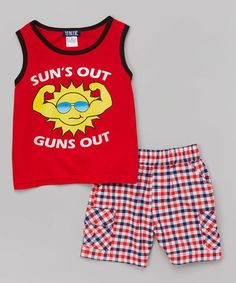 Love this Red 'Sun's Out' Tank & Plaid Shorts - Infant, Toddler & Boys on #zulily! #zulilyfinds