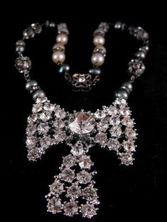 Vintage Design Elements Rhinestones Pearls Necklace by hipcricket, $35.00