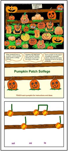 Pumpkin Patch Solfege SMARTBoard activity. Pumpkins linked to pumpkin notation can be used for a solfege moment during October music classes. cphmusic.blogspot.com