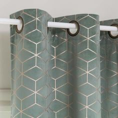 Grey Eyelet Curtain with Graphic Motifs 140 x 250 on Maisons du Monde.