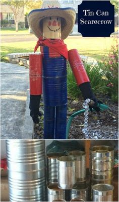 Here are 50incredible tin can recycling projects that will blow your mind! I can't wait to try these projects for myself, and I know you'll be just as excited to do some of these yourself! #diy #upcycle #recycle #tincans #crafts #ecofriendly Aluminum Can Crafts, Tin Can Crafts, Metal Crafts, Diy Projects Using Tin Cans, Recycling Projects, Metal Projects, Scarecrow Crafts, Scarecrow Ideas, Scarecrows