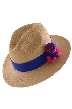 d6291b3a179 Classic toquilla straw panama hat with grosgrain band and handmade pom pom  accents. Brim Hat