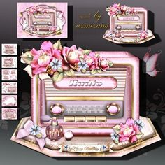 Colorful Vintage Radio with Roses on Craftsuprint designed by Atlic Snezana - Colorful Vintage Radio with Roses: 6 sheets for print with decoupage for 3D effect plus few sentiment tags (for your own personal text) - Now available for download!