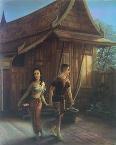 """Khun Phaen abducting Wanthong"", oil on canvas, 1971, by a Thai national artist Chakrabhand Posayakrit"