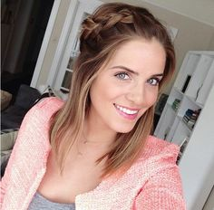 braid for medium hair. I seriously envy this girl! She is so pretty and has great style!:)
