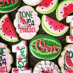 birthday cookies turning one! birthday cookies turning one! Galletas Cookies, Iced Cookies, Cute Cookies, Cookies Et Biscuits, Watermelon Cookies, Watermelon Baby, Watermelon Ideas, Watermelon Birthday Parties, 1st Birthday Party For Girls