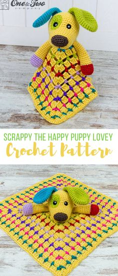 this crochet lovey is adorable! not sure about the yellow, maybe blue or white, but it'd be a great baby shower gift for Sammy. #crochetloveypattern #crochetbabyshowergift #crochetdogpattern #crochetpuppypattern #crochet #affiliate #crochetblanketlovey